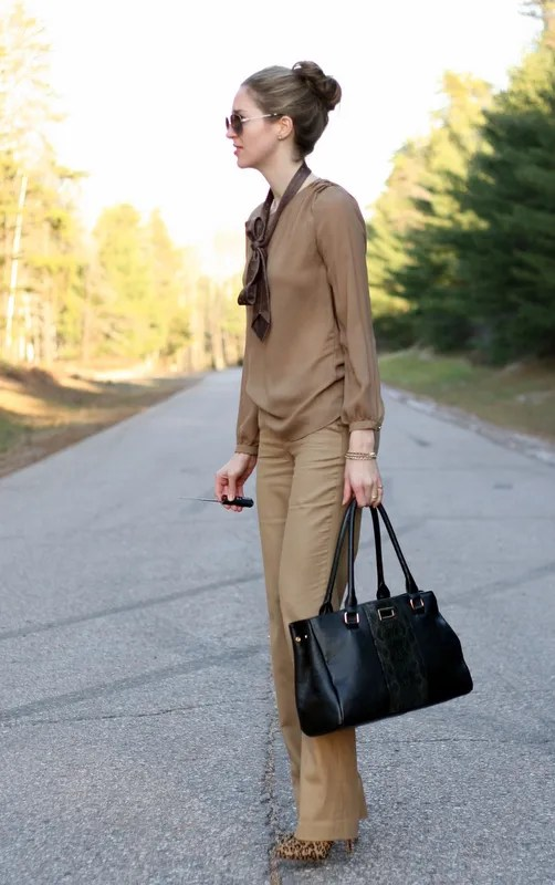 beige monochrome outfit fall