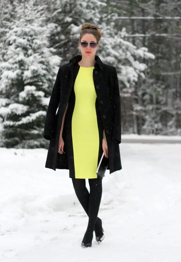 bright neon yellow panel dress