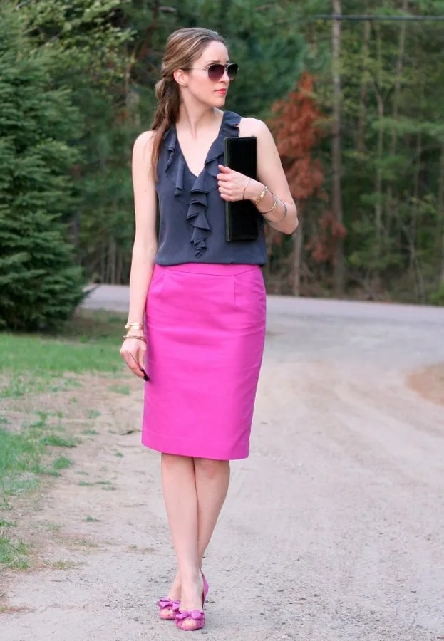 j.crew long pink pencil skirt and banana republic silk ruffle blouse