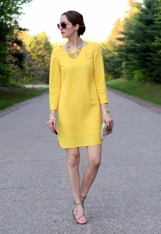 yellow dress brian atwood sandals