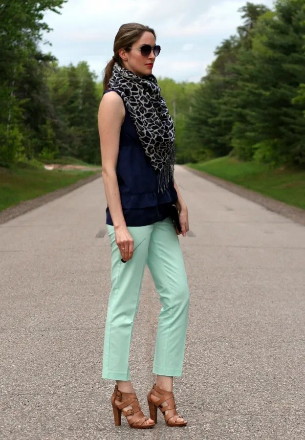 light green mint crop pants calvin klein