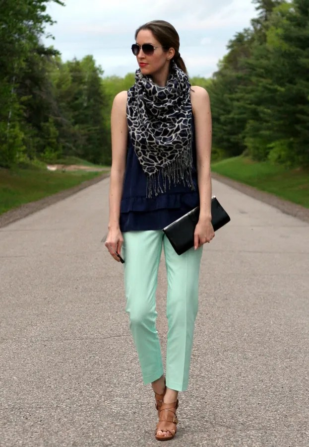 mint and navy outfit with chunky scarf