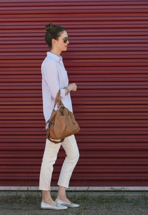 A Closet Full of Clothes - J.Crew Cleo loafers in metallic and soft cotton shirt