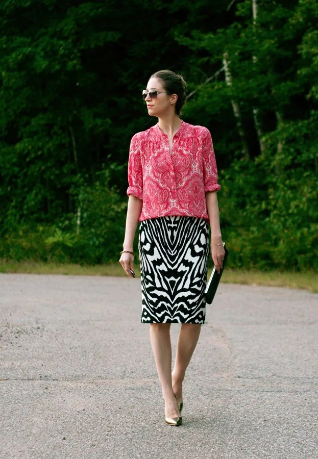 J.Crew paisley blouse and Joe Fresh zebra pencil skirt