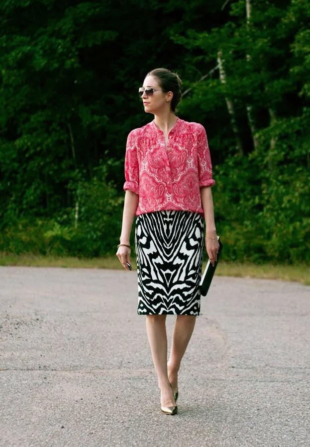 J.Crew paisley blouse and Joe Fresh zebra pencil skirt