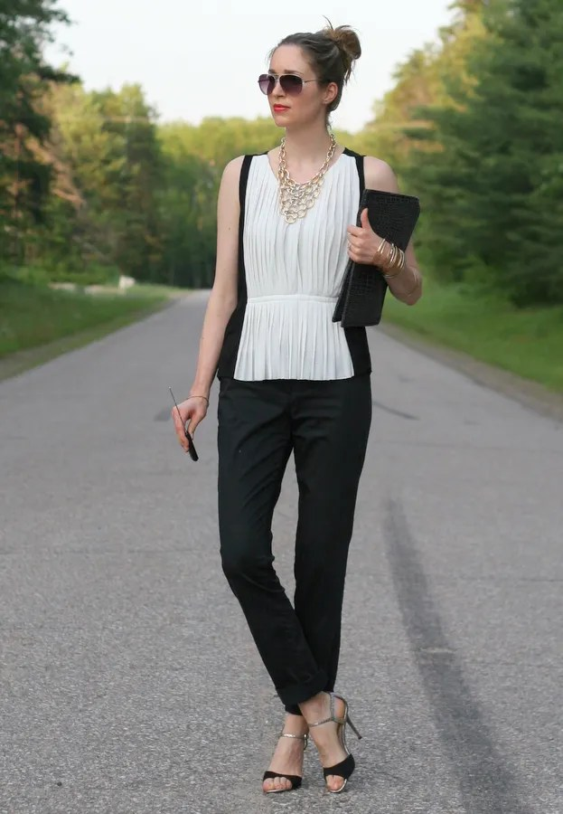 black and white colorblock outfit
