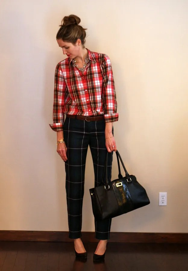 red plaid shirt with green plaid pants
