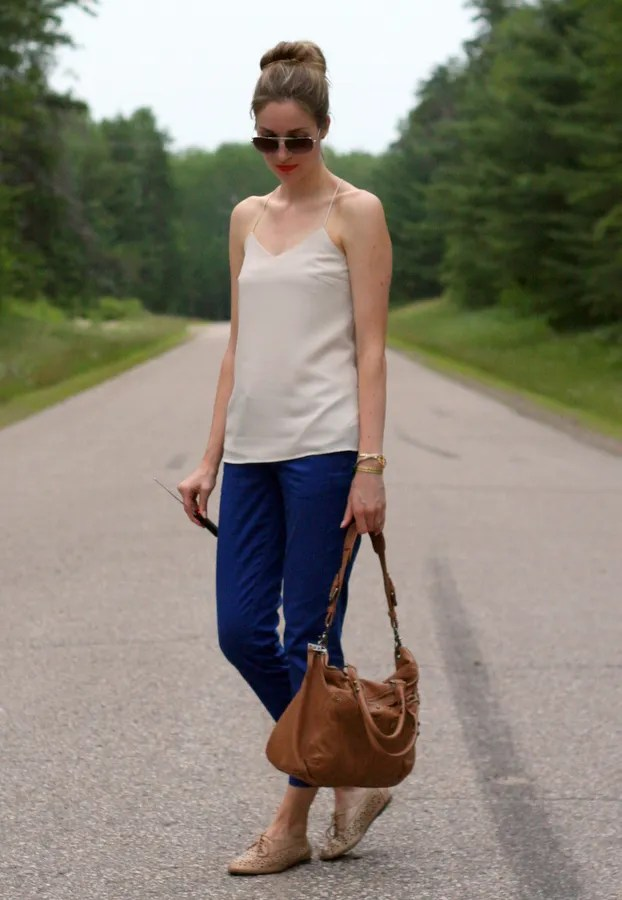 tank top blouse beige oxfords