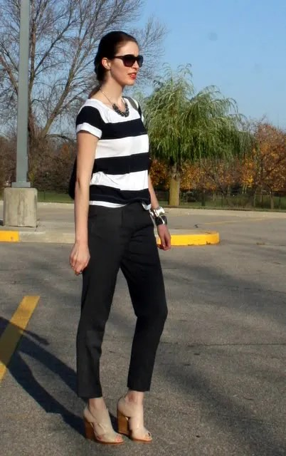 Laura Wears stripe t-shirt