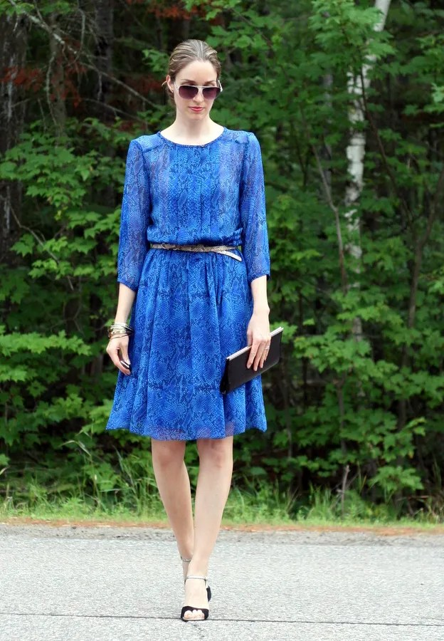 feminine silk dress blue snake print