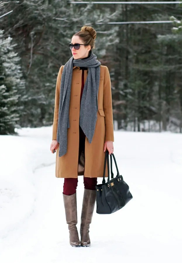 winter layers beige burgundy grey