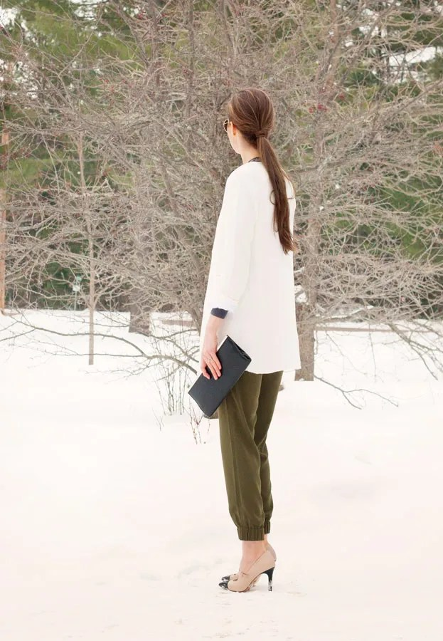 A Closet Full of Clothes blog - banana republic drapey pant outfit sheinside white coat