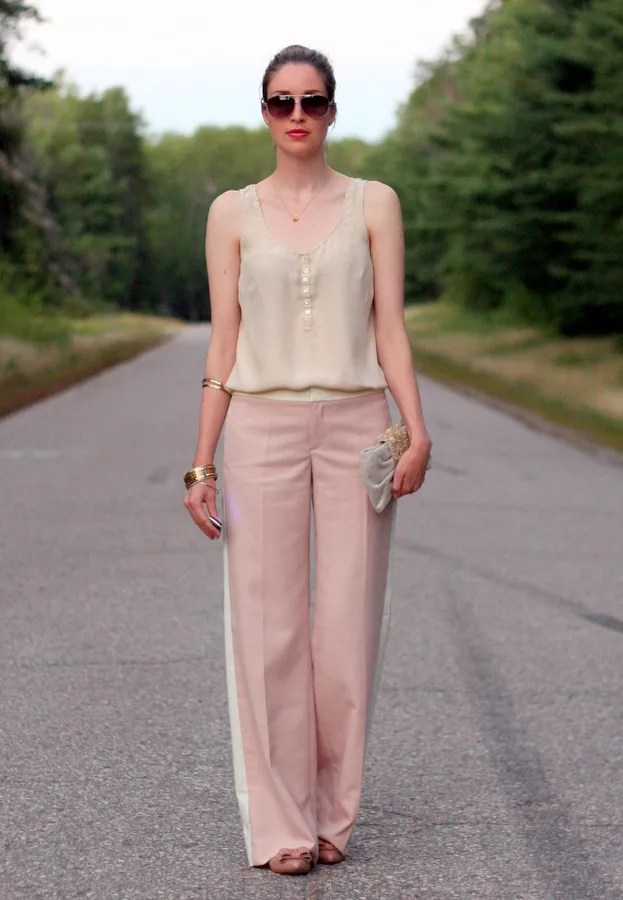 light pink stripe pants