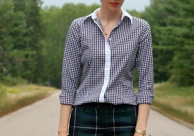pattern mixing plaid gingham