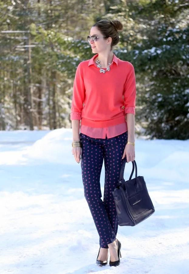 winter outfit j.crew sweater foulard pants