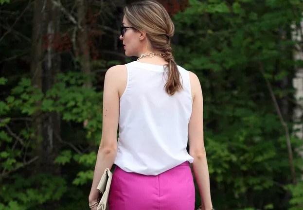 j.crew pink pencil skirt