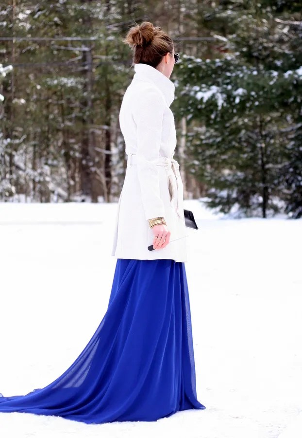 royabl blue gown and ivory white belted wool coat