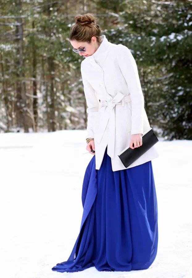 winter wool coat over ball gown
