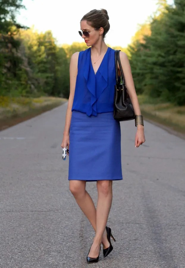 j.crew blue wool pencil skirt