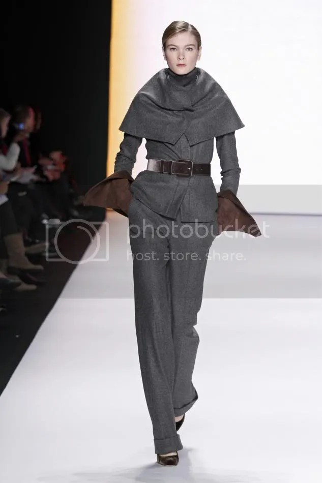 3. Irina K: Dark gray wool flannel caplet jacket, dark gray wool trouser, cocoa velvet belt, cocoa suede gloves