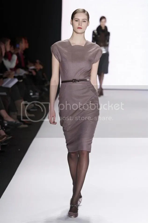 6. Juju: Light amethyst wool pencil dress and dark gray velvet belt