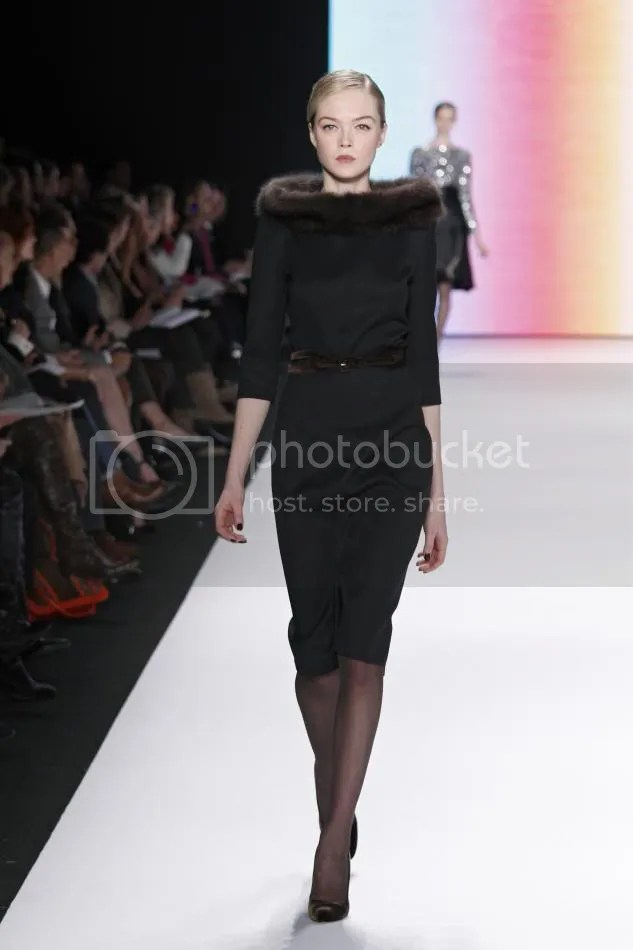 9. Siri: Black double face wool dress with bargazine sable collar, cocoa velvet belt