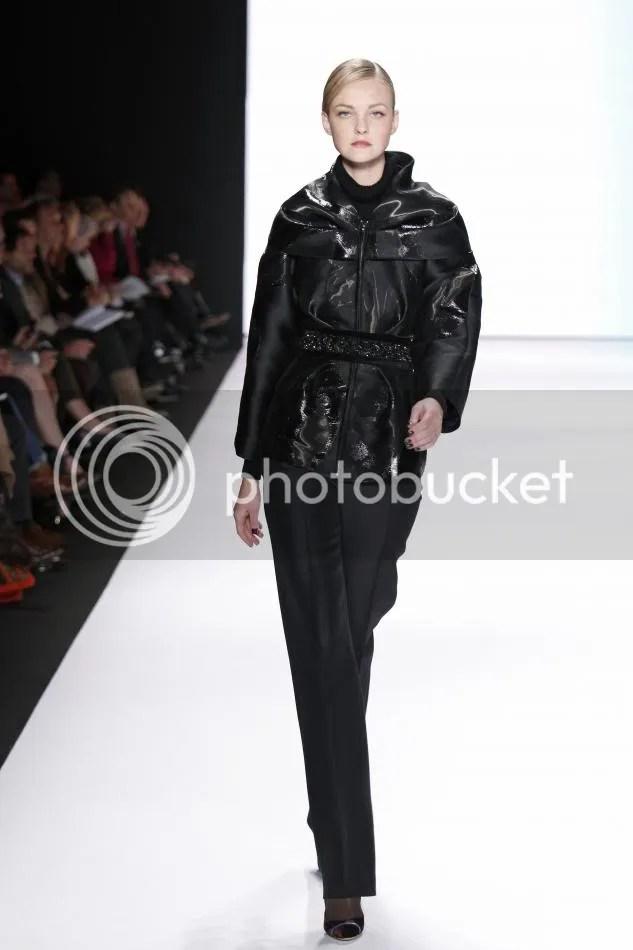 11. Tilda: Black liquid jacquard jacket, black silk wool organdy trouser, embroidered belt