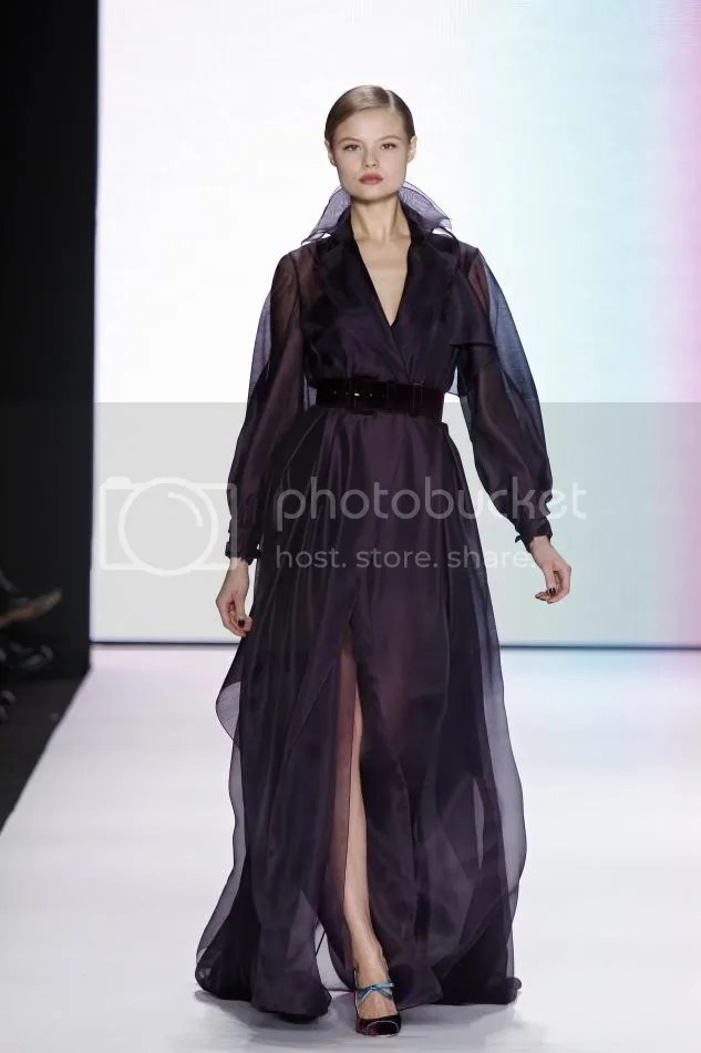 35. Magdalena: Amethyst silk and wool organdy trench gown and amethyst velvet belt.