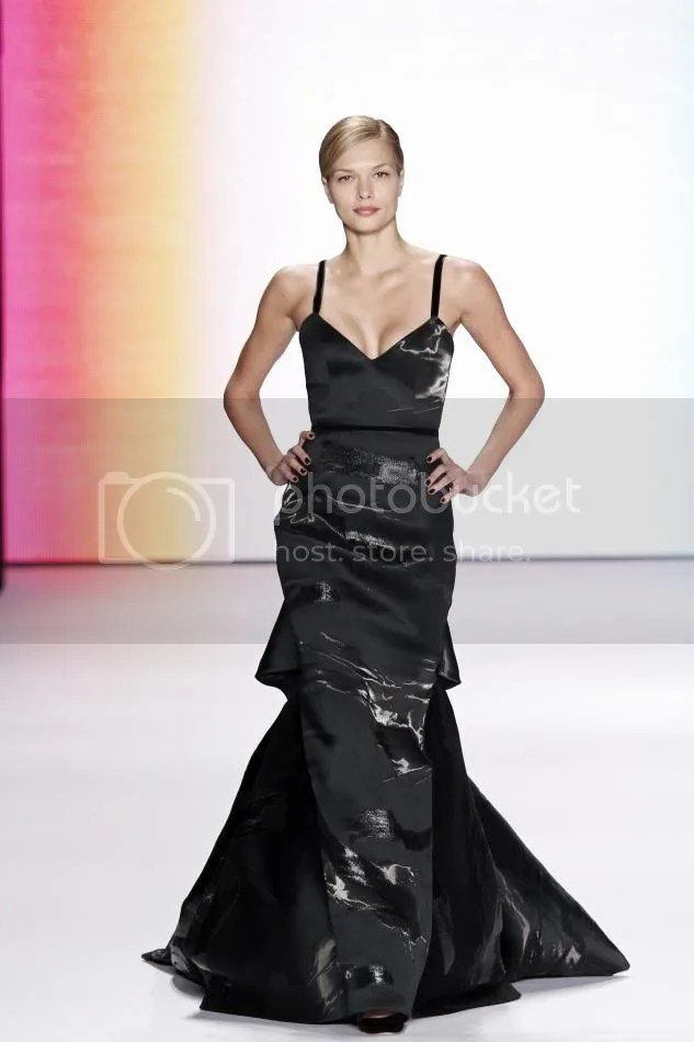 41. Katsia: Black liquid jacquard gown.