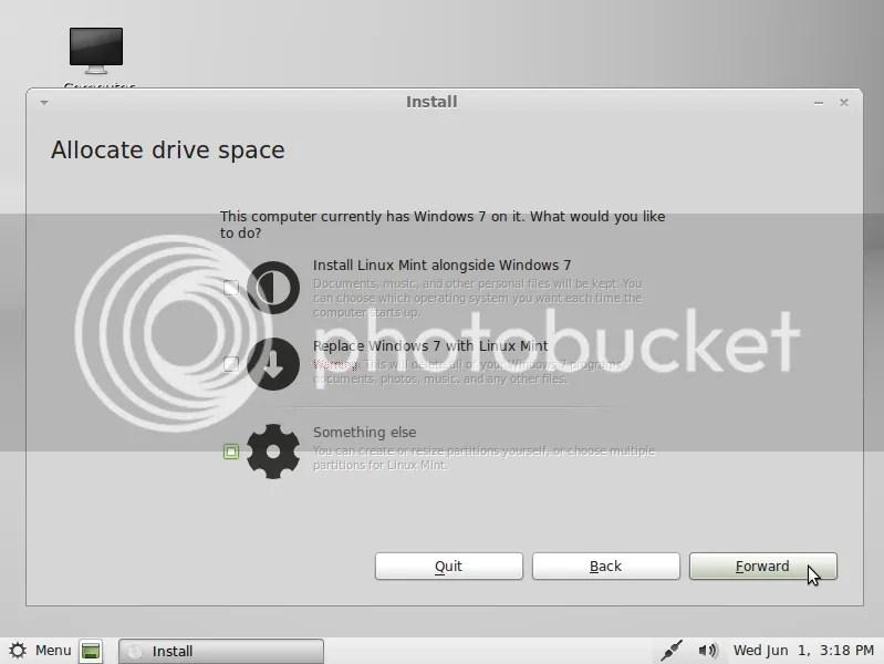 Hướng dẫn cài đặt Linux Mint 11 trên máy đã có Windows 7 (4/6)
