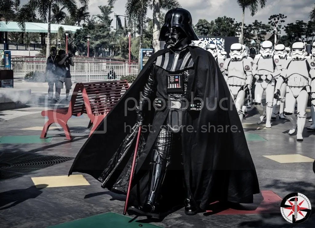 Darth Vader leading the 501st Legion from around the region
