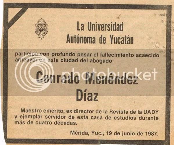 Esquela de Conrado Menéndez Díaz