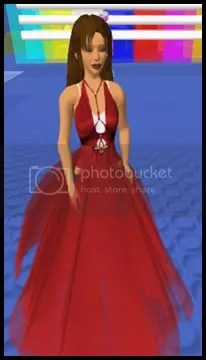 me standing up in the red dress