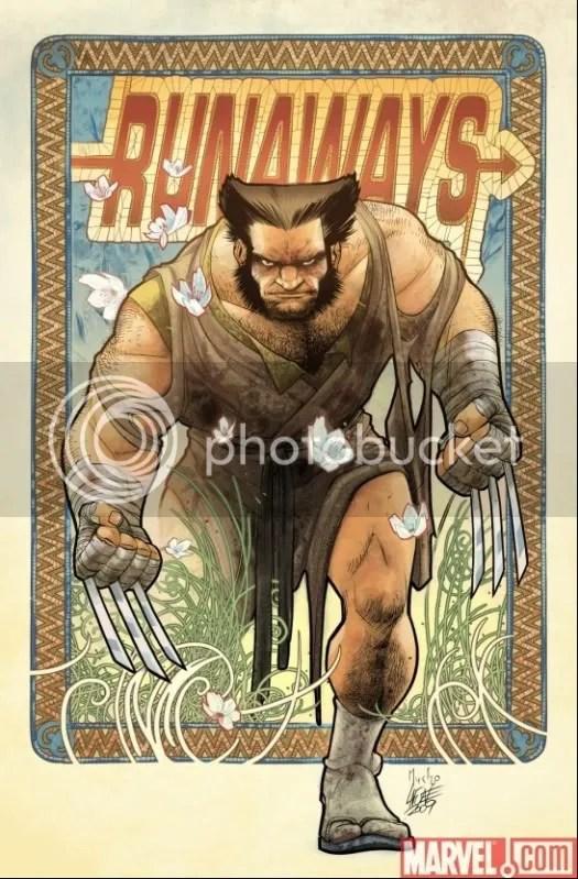Wolverine al estilo de Alphonse Mucha.