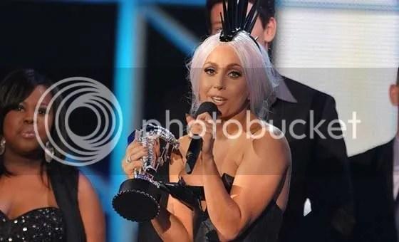 Lady Gaga receives award at the MTV VMAs 2010
