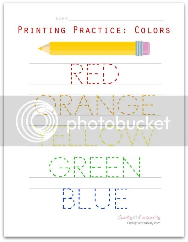 Printing Practice for Preschoolers: Colors