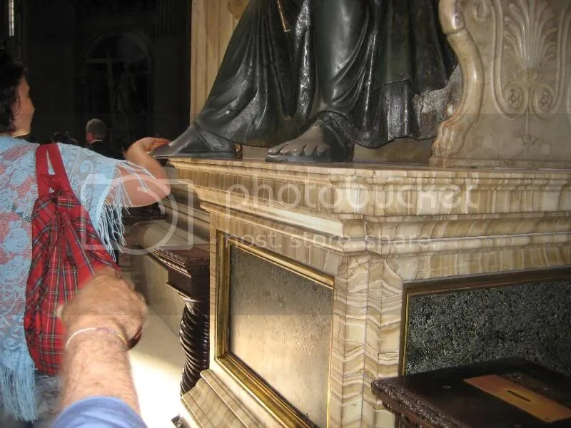St. Peters foot. . . rub it for good luck. . . look how worn it is!