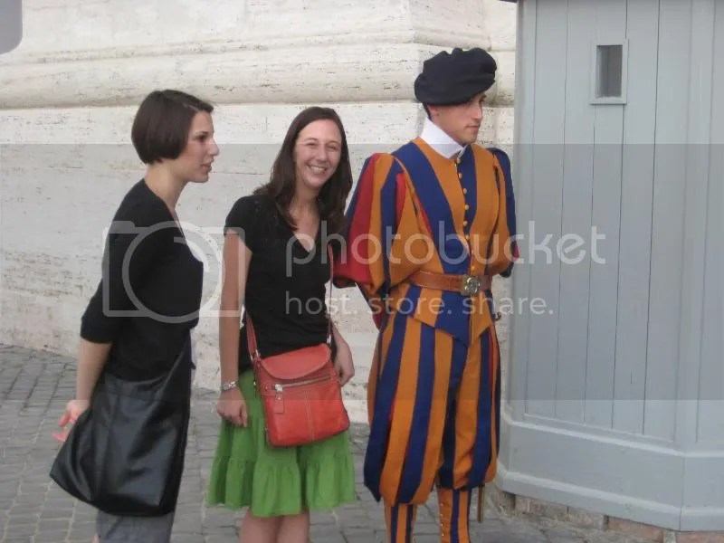 Me and the Swiss Guard.  It looks like I have my arm around him. . . which he would NOT have approved of.  They would pose for pictures, but they wanted us in and OUT.