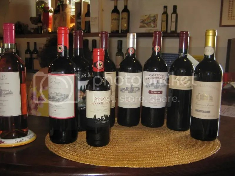 All the wines we tasted at Vicchiomaggio!