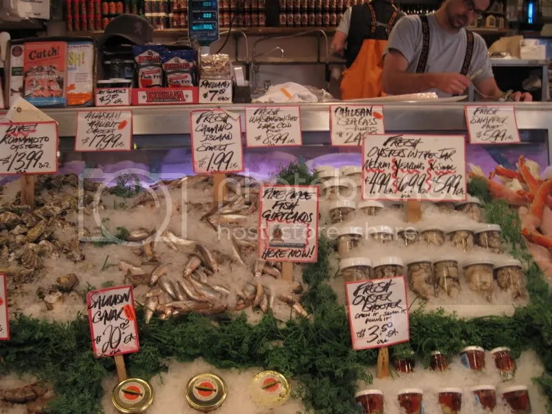 At the most famous market where they throw fish and act goofy