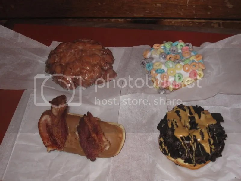 Clockwise from top:  Liz-Apple Fritter, Erin-Fruit Loops, Kerri-ODB Chocolate/oreos/peanut butter, Han-MAPLE AND BACON!