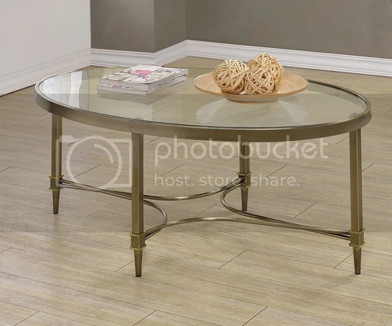 Traditional Brass Bronze Oval Occasional Coffee Table With