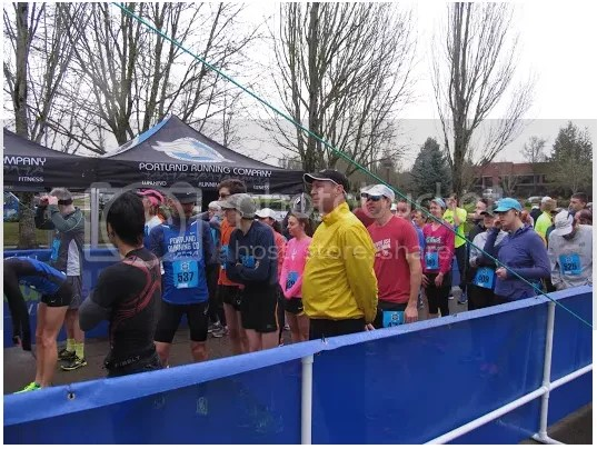 The starting corral prior to the race start at the final 2016-2017 PRC Winter Series 5k. Photo by Charissa Yang.