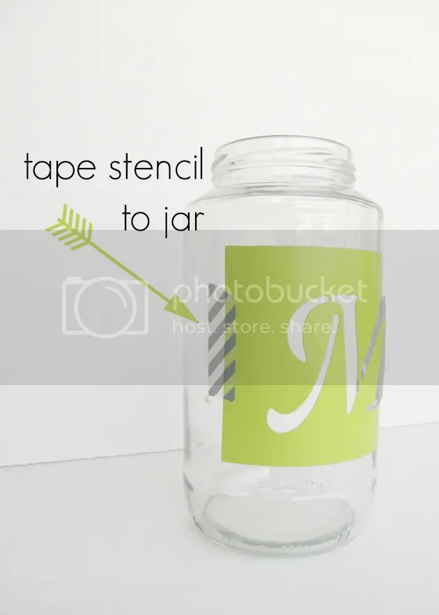 tape PLAID stencil on jar