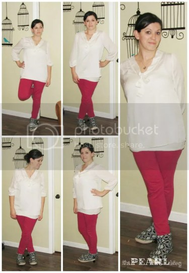 white top pink skinny pants