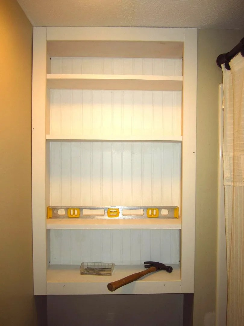DIY Custom Shelving for a Small Bathroom / HomeStagingBloomingtonIL