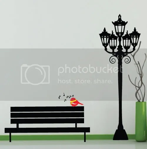 Vinyl Wall Art - Garden Lamp Post and singing bird on ...