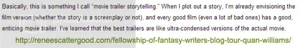 movie trailer storytelling tip by Quan Williams on the blog of Renee Scattergood