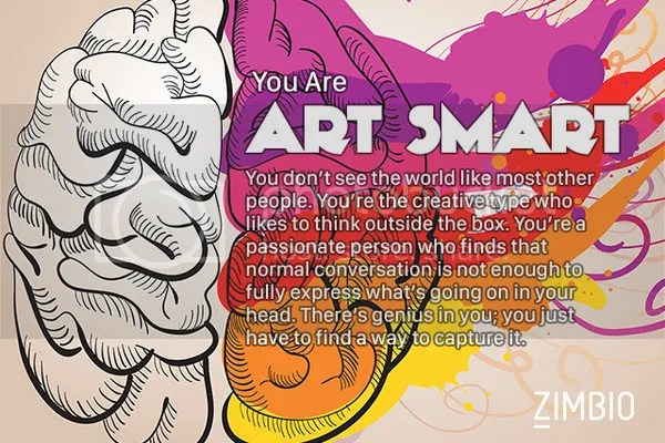 When it comes to my brain strengths, I @JLenniDorner am Art Smart. Find out what kind of smart you are. #quiz