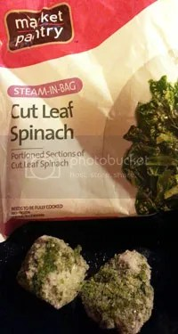Target Market Pantry frozen steam in bag spinach taken out of the bag